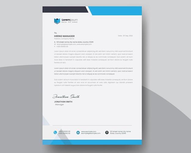Минимальный дизайн фирменного бланка с синими акцентами
