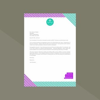 Бланк с ярким фиолетовым и монетным двором с геометрическими линиями Premium векторы