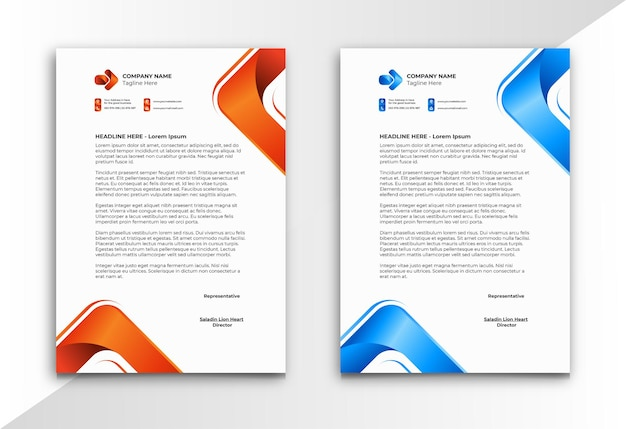 Letterhead with orange and blue modern style triangle shape