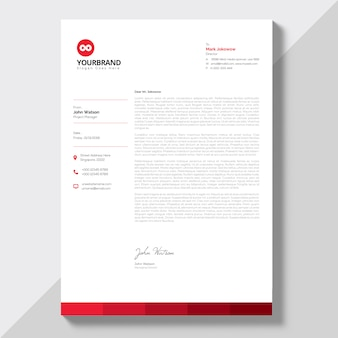 Letterhead with red details