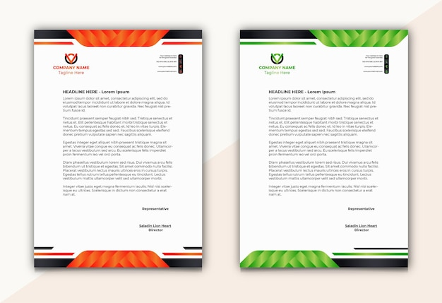 Letterhead with unique shapes in two colors