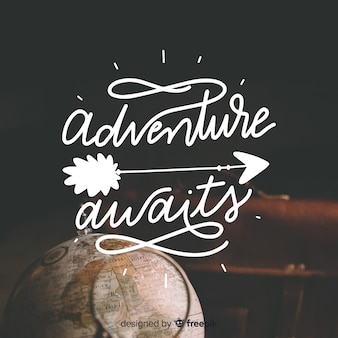 Lettering adventure background with photo