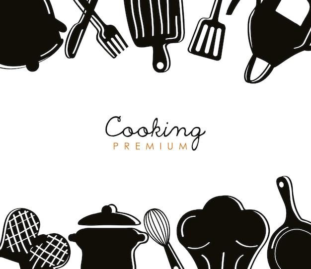 レタリングとキッチンツールのシルエット