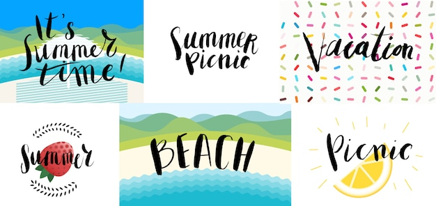 Lettering on beach, picnic, vacation and summer