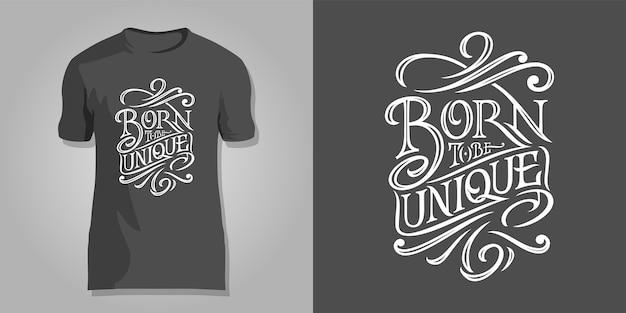Надпись born to be unique на темном фоне для печати на рубашках, обложках блокнотов, альбомов для рисования, открытках.