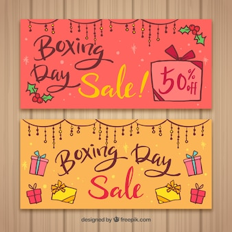 Lettering boxing day sale banner