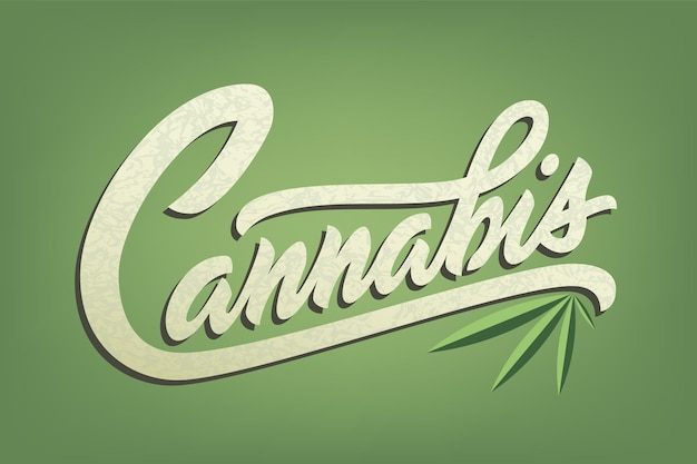 広告、ロゴ、バナーまたはショップの大麻のレタリング