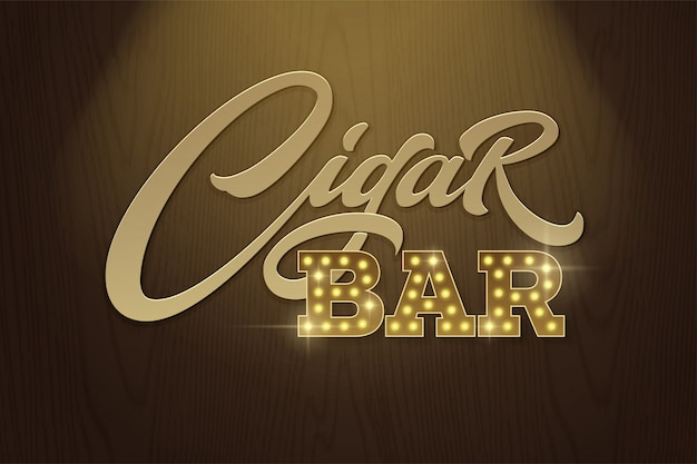 Lettering cigar bar in retro style on background of dark brown wood texture.  template for  signboards in vintage style. modern typography, font composition.