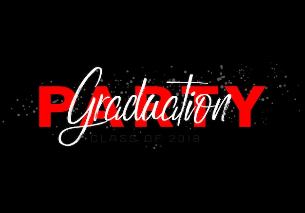Lettering class of 2018 for greeting invitation card graduation label