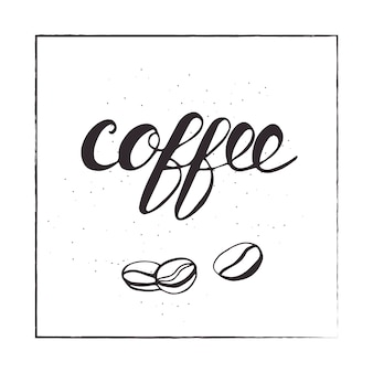 Lettering coffee and beans. vector illustration.