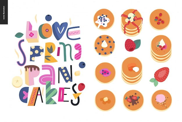 Lettering composition love spring pancakes