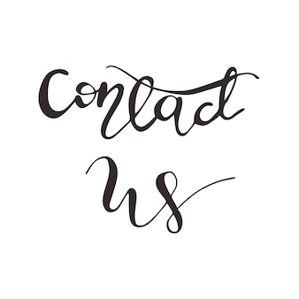 Lettering contact us. vector illustration.