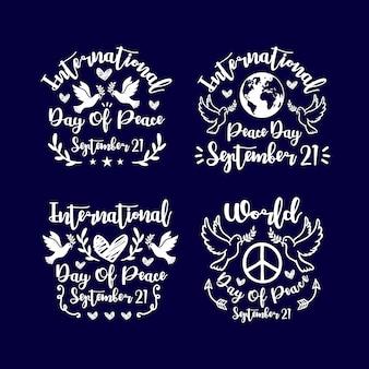 Надпись день мира дизайн коллекции