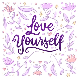 Lettering flowers self love