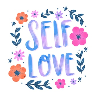 Lettering flowers self love