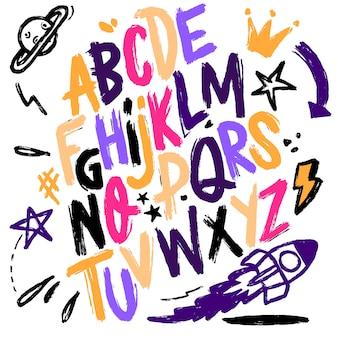 Надпись шрифта изолированы. текстура алфавит.