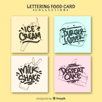 Lettering food card set