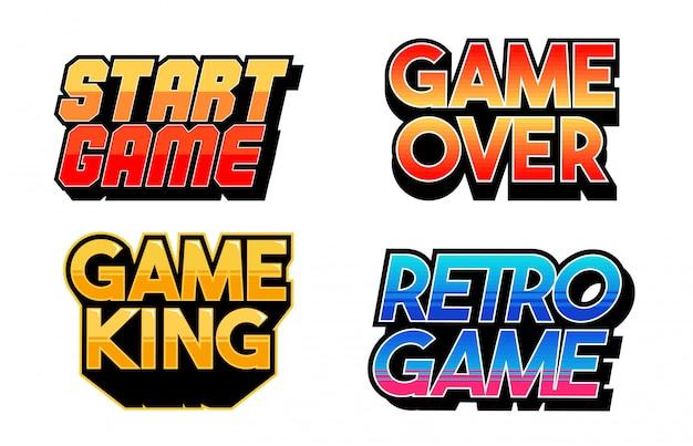 Надпись игровой дизайн набор коллекций классических ретро игровых фраз для геймеров гик культуры элементов расслоения.