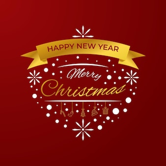 Lettering greeting card vector merry christmas and happy new year