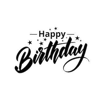 Lettering happy birthday with the stars. isolated on a white background. vector illustration.