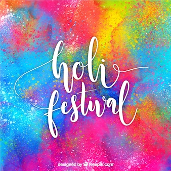 Lettering happy holi background