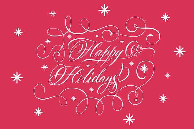 Lettering happy holidays white on red