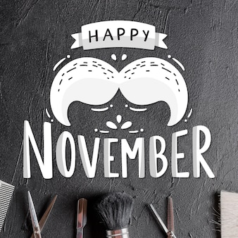 Lettering happy movember with moustache