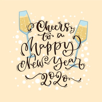 Lettering happy new year 2020 on peach background