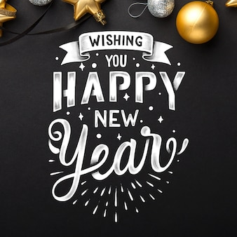 Lettering happy new year 2020 wallpaper