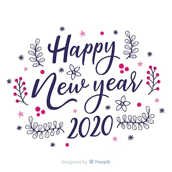 Lettering happy new year 2020 on white background