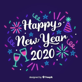 Lettering happy new year 2020 with fireworks