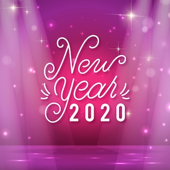 Lettering happy new year 2020 with realistic decoration