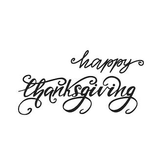 Lettering happy thanksgiving. vector illustration.