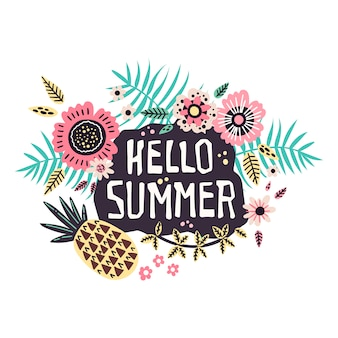 Lettering: hello summer - surrounded by tropical fruits and plants.
