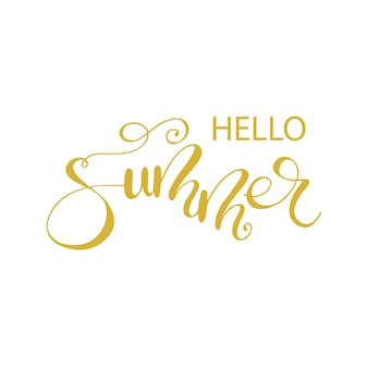 Lettering hello summer. vector illustration.