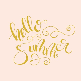 Lettering hello summer with flourishes. vector illustration.