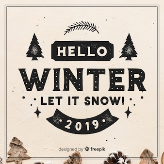Lettering hello winter