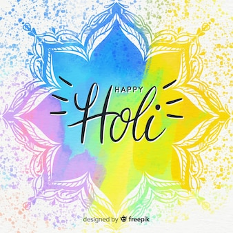 Lettering holi festival background
