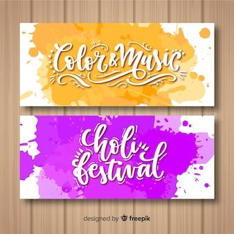 Lettering holi festival banner