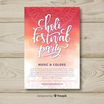 Lettering holi festival party poster