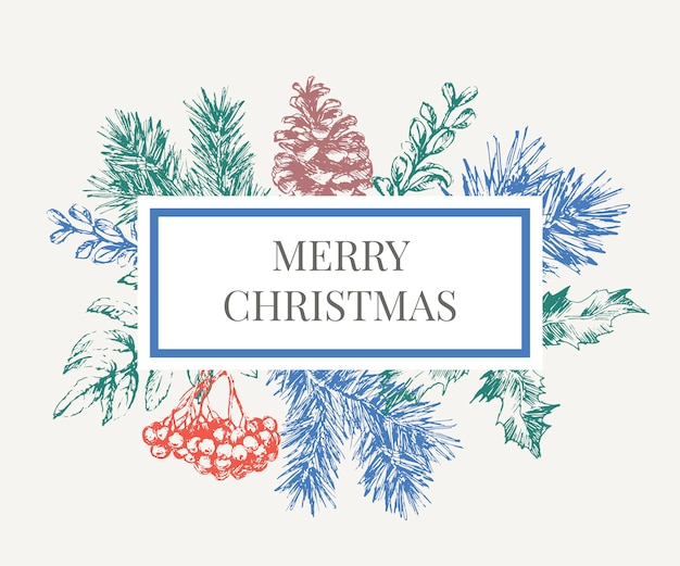 Lettering illustration of christmas frame with branches of christmas tree