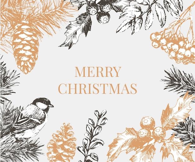 Надпись иллюстрация новогодняя рамка с ветвями елки