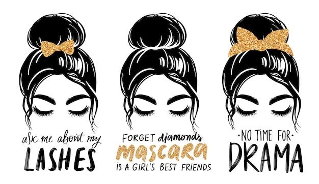 金色のキラキラバンダナまたはヘッドラップと髪の弓と乱雑なパンを持つ女性のレタリングイラストセット。