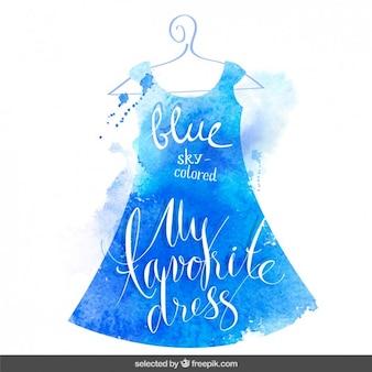 ブルー水彩画のドレスでレタリング