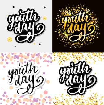 Lettering of international youth day yellow background slogan