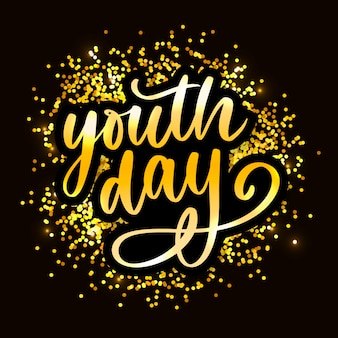 Lettering of international youth day yellow
