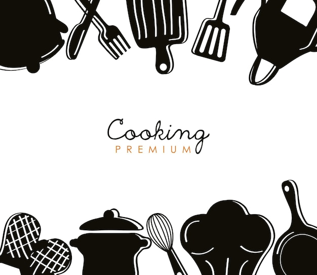 Lettering and kitchen tools silhouettes