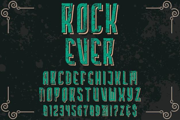 Lettering label design rock ever