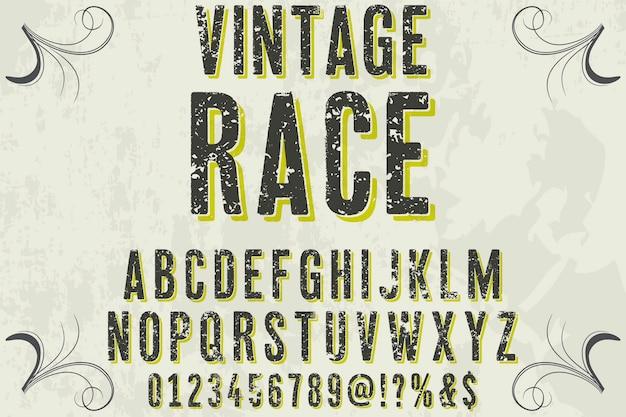 Lettering label design vintage race