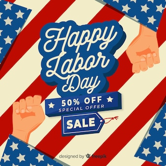 Lettering labor day special offer banner